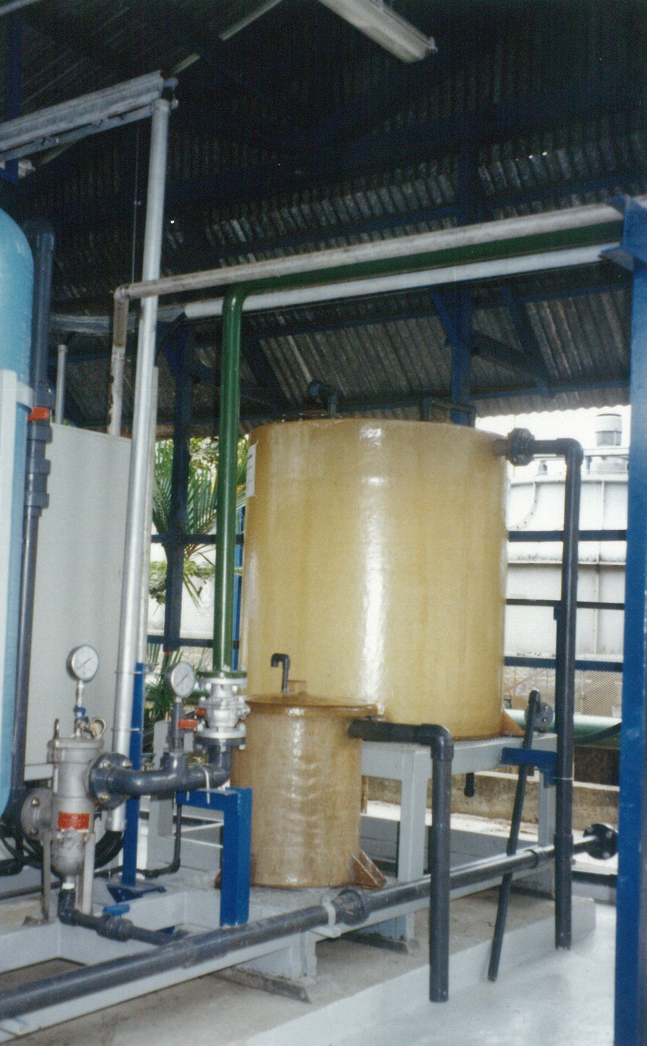 ME Tech distilled water system resin plant on skid for transport